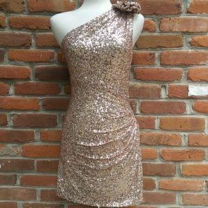 Badgley Mischka Sequin Dress One Shoulder